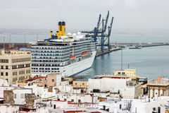 CADIZ, SPAIN - JULY 8, 2016: Cruise liner Costa in sea port Royalty Free Stock Photography