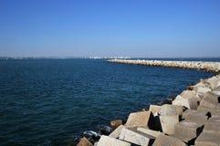 A pier in the sea bay of Cadiz. CADIZ, SPAIN - JULY 5, 2011: A pier in the sea bay of Cadiz Stock Photography