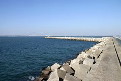 A pier in the sea bay of Cadiz. CADIZ, SPAIN - JULY 6, 2011: A pier in the sea bay of Cadiz Royalty Free Stock Photography