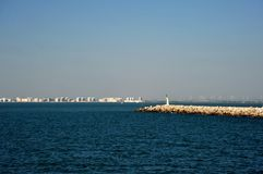 A pier in the sea bay of Cadiz. CADIZ, SPAIN - JULY 5, 2011: A pier in the sea bay of Cadiz Stock Image