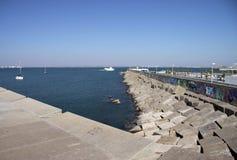 A pier in the sea bay of Cadiz. CADIZ, SPAIN - JULY 5, 2011: A pier in the sea bay of Cadiz Stock Images