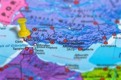 Cadiz Spain map. Cadiz in Spain pinned on colorful political map of Europe. Geopolitical school atlas. Tilt shift effect Royalty Free Stock Image