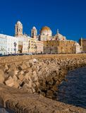 CADIZ, SPAIN - NOVEMBER 15: View of the city of Cadiz on November 12, 2017. Cadiz is bordered by the sea and its Cathedral can be royalty free stock image