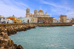 Cadiz, Spain. Seafront Cathedral Campo del Sur Stock Photography
