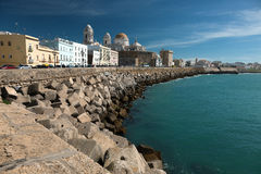 Cadiz, Spain. Seaside view including local cathedral Royalty Free Stock Photos