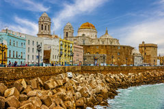 Cadiz, Spanje Strandboulevardkathedraal Campo del Sur Stock Afbeelding