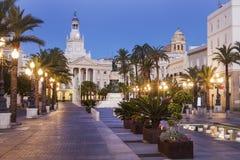 Cadiz stadshus på plazaen San Juan de Dios Arkivfoton