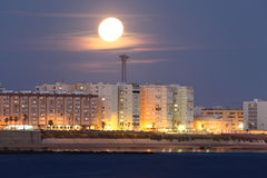 Cadiz under the moon shine Royalty Free Stock Images