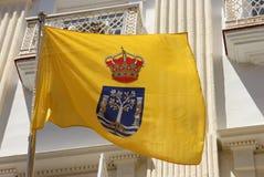 Cadiz University. The flag of the university of Cadiz flying over the city of Cadiz, Spain Royalty Free Stock Photography