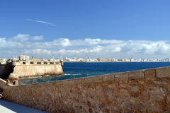 Cadiz view from the castle of Santa Catalina Royalty Free Stock Images
