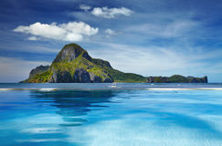 Cadlao island, El Nido, Philippines. Landscape with swimming pool and Cadlao island, El Nido, Philippines Royalty Free Stock Photography