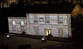 Cadmans Cottage in lights for Vivid Sydney Stock Image