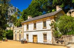 Cadmansplattelandshuisje, het oudste gebouw in Sydney, Australië Royalty-vrije Stock Foto's