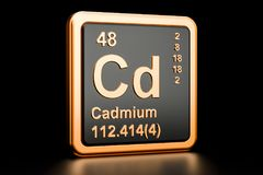 Cadmium Cd chemical element. 3D rendering. Isolated on black background royalty free illustration