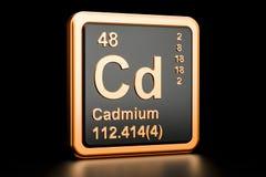 Cadmium Cd chemical element. 3D rendering royalty free illustration