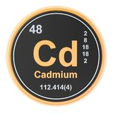 Cadmium Cd chemical element. 3D rendering. Isolated on white background vector illustration