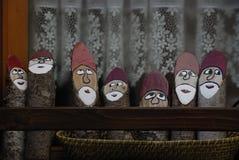 Cadore (意大利),在木头的圣诞老人绘画 免版税图库摄影
