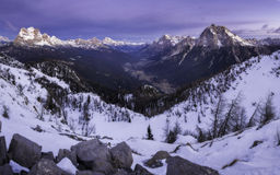 Cadore valley during the sunrise Royalty Free Stock Photos
