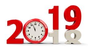 2018-2019 cadran d'horloge illustration libre de droits