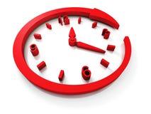 Cadran d'horloge rouge de concept avec autour de la flèche Photographie stock libre de droits