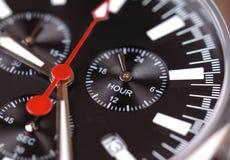 Cadran noir de chrono- montre Photo stock