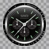 Cadran réaliste de noir d'acier inoxydable de visage de chronographe d'horloge de montre sur le vecteur à carreaux de fond de mod illustration de vecteur