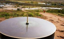 Cadran solaire en parc national dans la vallée Haukadalur, Islande photos stock