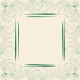 Cadre à la mode élégant de maquette de label avec des feuilles de modèle de vert de paume sur un fond beige pâle avec un bloc ave illustration de vecteur