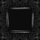Cadre à la mode élégant de maquette de label avec le modèle gris de palmettes sur un fond noir avec un bloc avec l'espace de copi illustration libre de droits