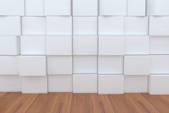 cadre 3D blanc blanc avec l'étage en bois pour des milieux Photographie stock libre de droits