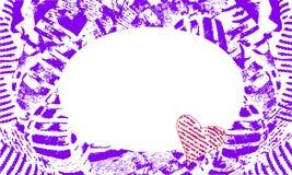 Cadre abstrait avec l'encolure ovale et les coeurs pourpres illustration stock