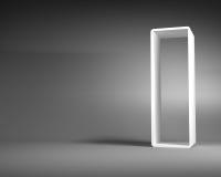 Cadre abstrait blanc de rectangle se tenant dans Gray Room Image libre de droits
