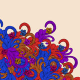 Cadre abstrait coloré, trame florale Images libres de droits