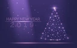 Cadre abstrait d'arbre de Noël de lumière lumineuse des particules sur un fond pourpre populaire comme symbole de bonne année, jo illustration de vecteur