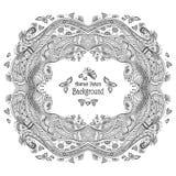 Cadre abstrait de cercle avec le fond de modèle dans le noir de style de Zen-griffonnage sur le blanc Image stock