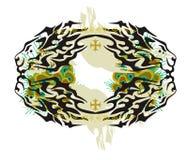 Cadre abstrait de lion avec des plumes de paon Image stock