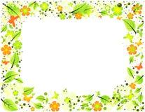 Cadre abstrait des feuilles, des fleurs et de butterflie Illustration Stock