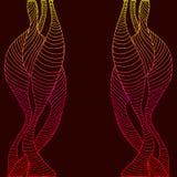 Cadre abstrait et psychédélique, vague décorative et ligne, Cr jaune Images stock
