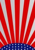 Cadre abstrait patriotique avec des étoiles et des rayons rouges images stock