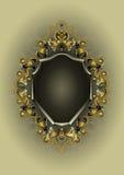 Cadre antique avec le décor d'or et d'argent Image libre de droits