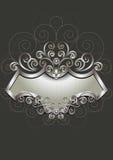 Cadre argenté avec l'héraldique et le modèle des spirales sur le fond foncé Photographie stock libre de droits