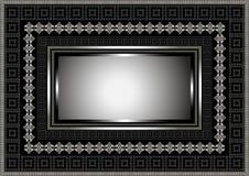 Cadre argenté avec l'ornement géométrique sur le fond noir Image libre de droits