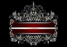 Cadre argenté avec le décor du style victorien Photo libre de droits