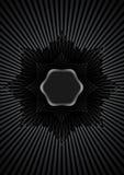 Cadre argenté hexagonal avec l'entrelacement en filigrane et les rayons argentés Photos stock