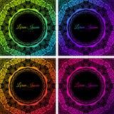 Cadre au néon coloré lumineux de cercle de griffonnage Photos libres de droits