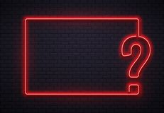 Cadre au néon de point d'interrogation Questionnez l'éclairage, lampe au néon rouge de point d'interrogation sur le vecteur du fo illustration libre de droits