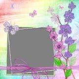 Cadre avec des couleurs sur un fond iridescent Image stock