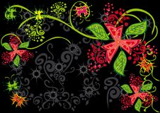Cadre avec des guindineaux et des fleurs Photo libre de droits