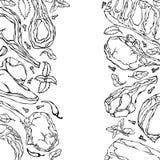Cadre avec des produits carnés Menu ou boucher Shop Template de restaurant Bifteck de boeuf, agneau, nervure de porc Illustration Photos libres de droits