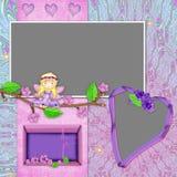Cadre avec la fille-fée et les fleurons Photographie stock